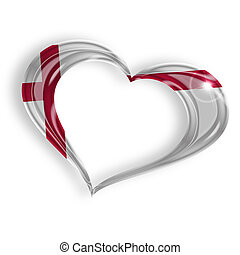 heart with english flag colors on white background