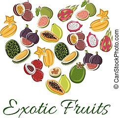 Heart with exotic fruit poster