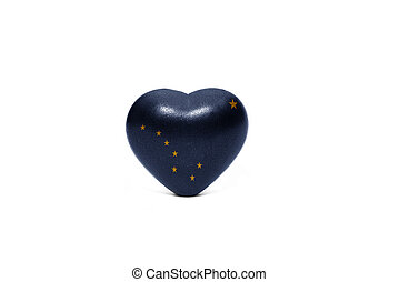 heart with flag of alaska state