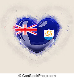 Heart with flag of anguilla