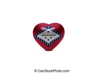 heart with flag of arkansas state