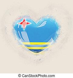 Heart with flag of aruba