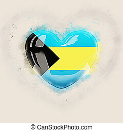 Heart with flag of bahamas