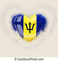 Heart with flag of barbados