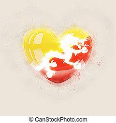 Heart with flag of bhutan