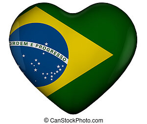 Heart with flag of brazil