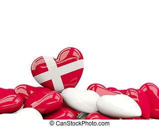 Heart with flag of denmark on top of colourfull hearts...