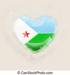 Heart with flag of djibouti