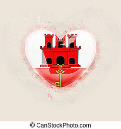 Heart with flag of gibraltar
