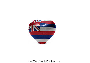 heart with flag of hawaii state