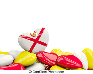 Heart with flag of jersey on top of colourfull hearts isolated on white. 3D illustration
