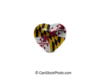 heart with flag of maryland state