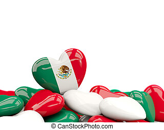 Heart with flag of mexico
