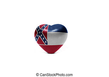 heart with flag of mississippi state