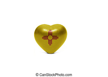 heart with flag of new mexico state on the white background