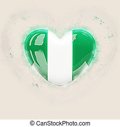 Heart with flag of nigeria