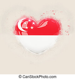 Heart with flag of singapore