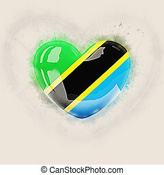 Heart with flag of tanzania