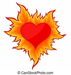 Heart with flame.