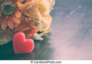 Heart with flowers of vintage.