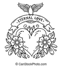 Heart with flowers, ribbon and white dove. Eternal Love. Old school tattoo. Black and white illustration