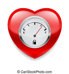 Heart with fuel indicator - Shiny red heart with fuel...