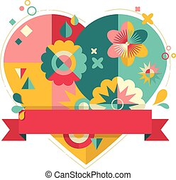 Heart with fun, colorful geometric elements