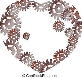 Heart with gears. Industrial style.