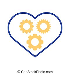heart with gears line style icon