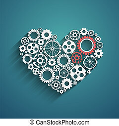 heart with gears, vector background