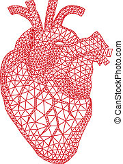 abstract red human heart with geometric mesh pattern, vector illustration