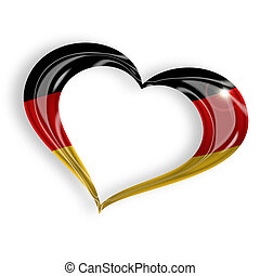 heart with german flag colors on white background