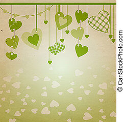 heart with green flourishes isolated on white
