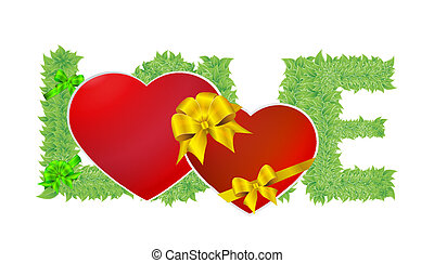 Heart with green leaves