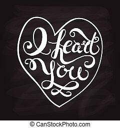 "Romantic quote ""I heart you"""