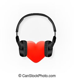 Heart with headphones vector icon isolated on white background