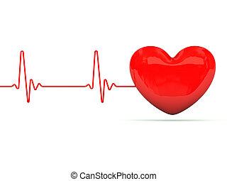 Heart with heartbeat - Heart with heartbeat isolated on...
