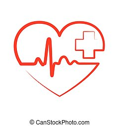 Heart with heartbeat sign and with cross. Vector...