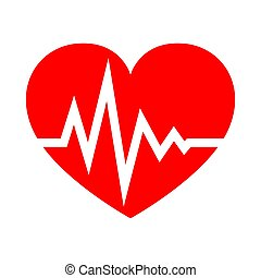 Heart with heartbeat sign. Vector illustration. - Red heart...