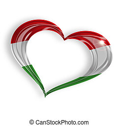 heart with Hungarian flag colors on white background