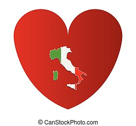 heart with italy map