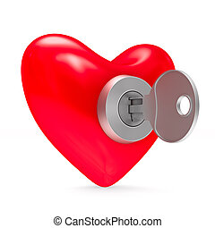 heart with key on white background. Isolated 3D illustration