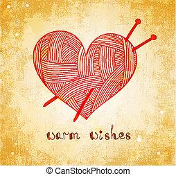 heart with knitting needle on grunge background