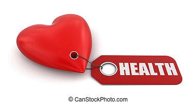 Heart with label Health - Heart with label Health. Image...