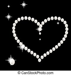 Heart with large beautiful pink pearls and stars romantic