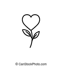 heart with leafs line style icon