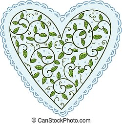 Heart with leaves.