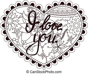 Heart with lettering I love you