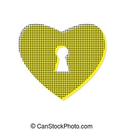 Heart with lock sign. Vector. Yellow icon with square pattern du