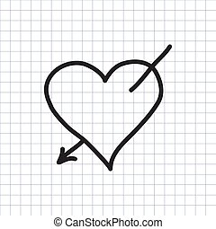Heart with love arrow on the exercise book background.